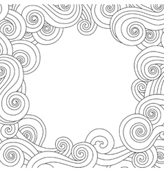 Abstract hand drawn frame border with outline sea vector