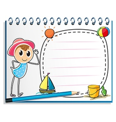 A notebook with a drawing of a girl ready for vector