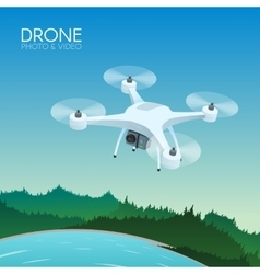 Drone with remote control flying over nature vector
