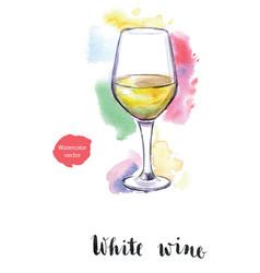 Wineglass of white wine vector