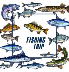 poster template for fishing trip sketch vector image