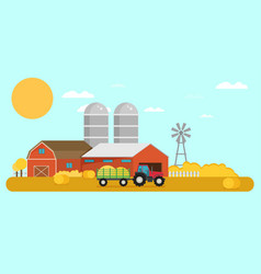 Flat design crop farm rural landscape background vector