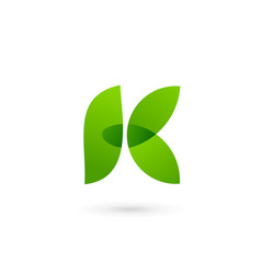 Letter k eco leaves logo icon design template vector