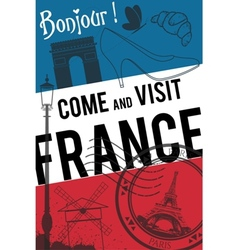 France travel invitation poster vector