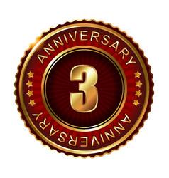 3 years anniversary golden label vector image vector image