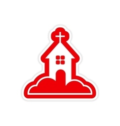 Paper sticker on white background church in snow vector