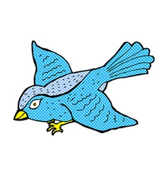Comic cartoon flying bird vector