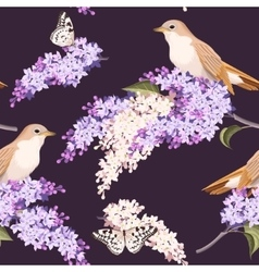 Seamless lilac and birds vector