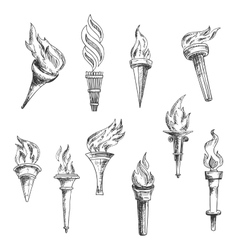 Ancient wooden flaming torches sketches vector image vector image