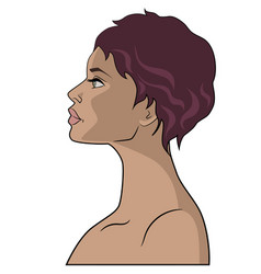 Beautiful girls face profile vector