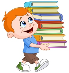 boy carrying books vector image