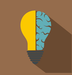 brain lamp icon flat style vector image