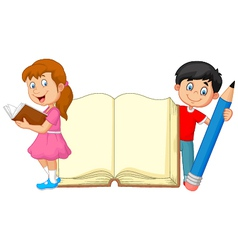 Cartoon kids with book and pencil vector image vector image
