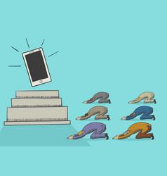 Cartoon of men worshiping a gadget vector