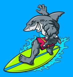 Cartoon surfing shark vector