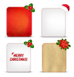 Christmas banners set with holly berry vector