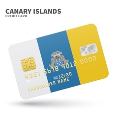 Credit card with canary islands flag background vector