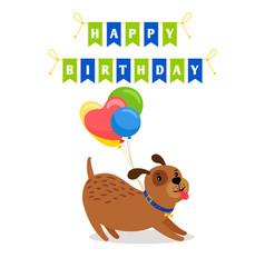 Cute dog and balloons birthday card vector