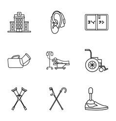 Disabled icons set outline style vector