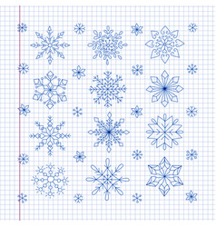 Doodle snowflakes on a sheet of exercise book vector