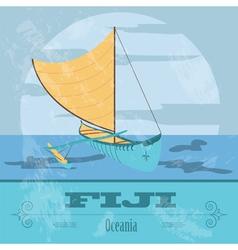 Fiji fijian canoeing retro styled image vector