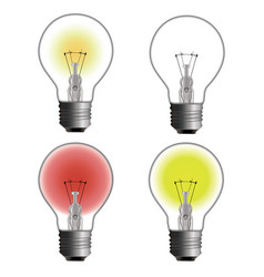 glowing and turned off electric light bulb vector image vector image