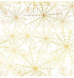 Gold white spiderweb halloween seamless vector