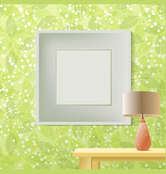 Green leaf spring printed wallpaper with frame for vector