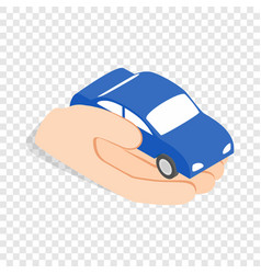 hand holds machine isometric icon vector image