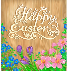 Happy easter flowers wooden banner vector