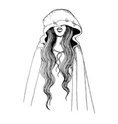 Ink pen of a girl in hood vector image