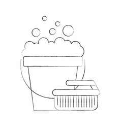 Laundry bucket with brush vector