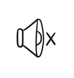 Mute speaker sketch icon vector