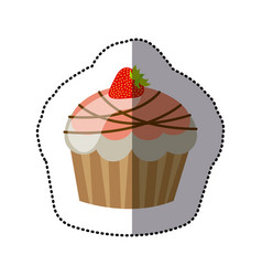 Pink muffin with chocolate and strawberry icon vector