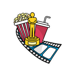 Popcorn with soda and prize vector