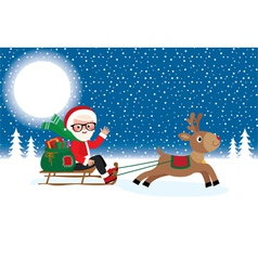 Santa Claus with Christmas gifts on sledge vector image