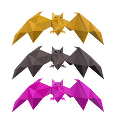 Set of low poly bat flying vector