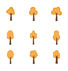 Set of orange trees vector