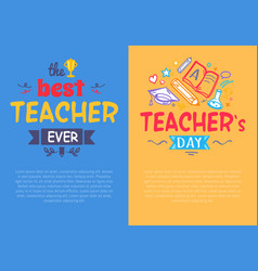 set of posters for teacher s day set of posters vector image vector image