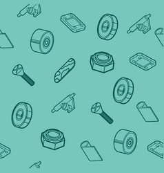 Skateboard spare parts pattern vector