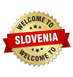 Slovenia 3d gold badge with red ribbon vector