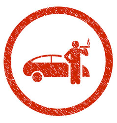 Smoking taxi driver rounded grainy icon vector