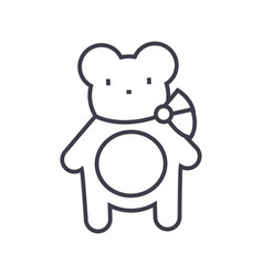 teddy bear line icon sign on vector image vector image