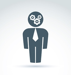 White collar team worker man icon with gears vector