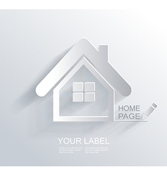 White paper origami home icon vector