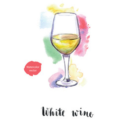 Wineglass of white wine vector