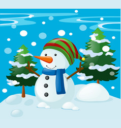 winter scene with snowman in the field vector image
