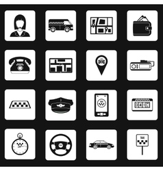 Taxi icons set in simple style vector