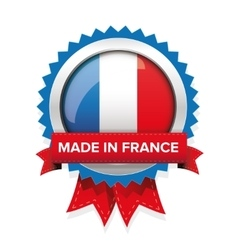 Made in france badge with ribbon vector