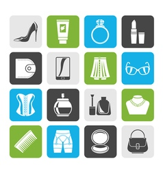 Silhouette Female accessories and clothes icons vector image